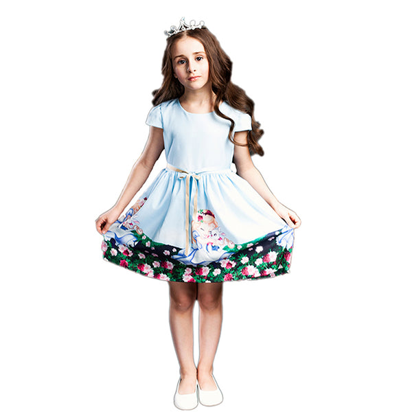 Snow White Prints Summer 2018 Dress for young Girls 2-8 Y