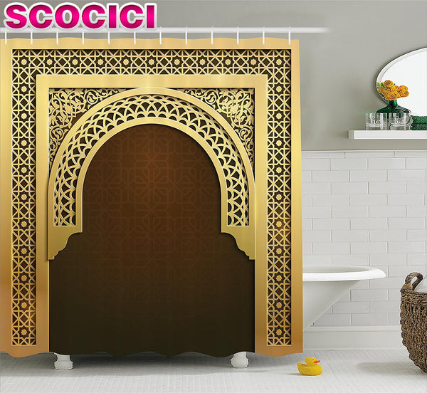 Moroccan Arch-Door Waterproof Shower Curtain