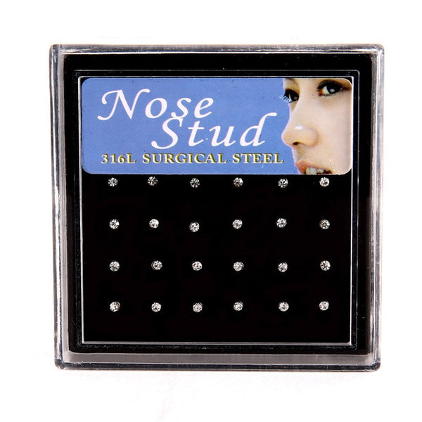24 pieces/pack Stainless Steel/Crystal Nose Studs