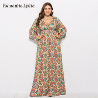 Maxi Plus Size Long Sleeve Casual Floral Dress