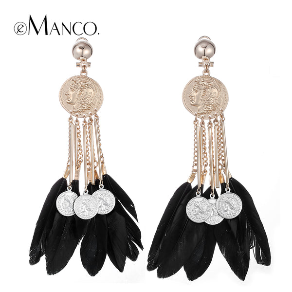 Feather Long Drop Earrings
