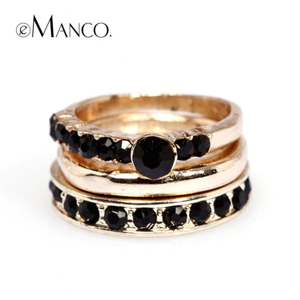 Black Rhinestone Multilayer Rings