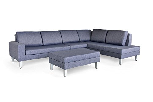 Velago Patio Furniture 2303 Paglia Patio Sectional Set, Gray