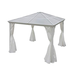 Christopher Knight Home Bali Outdoor 10 x 10 Foot White Rust Proof Aluminum Framed Hardtop Gazebo with White Curtains