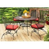 Better Homes and Gardens Clayton Court 5-piece Patio Dining Set, Wrought Iron Table and 4 Chairs, Red Cushions, Seats 4