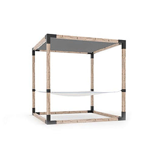 TOJA GRID HMKWHGR1S 8X8 System with Built in Hammock for 4x4 Wood Posts Modular Pergola, Black