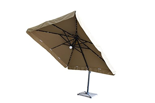 Terrazza 10 Foot Offset Cantilever Solar Powered Led Lighted Outdoor Patio Umbrella Square Parasol Infinite Tilt Position With Cross Base Beige