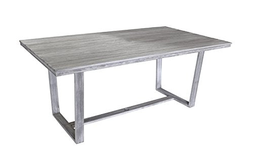 Courtyard Casual Driftwood Gray Teak Contemporary Bay Side Outdoor Rectangle Dining Table