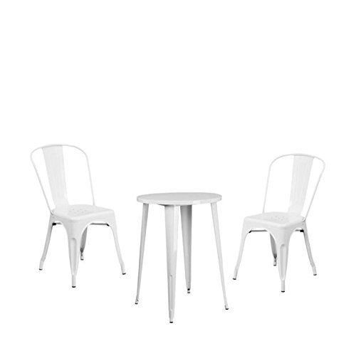 Home Square 3 Piece Patio Bistro Set with Bistro Table and Set of 2 Chair in White