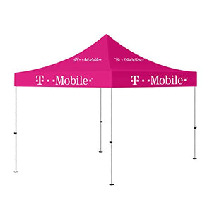 10 x 10 Portable Outdoor Canopy Tent Pink , Pop up Shelter (T-Mobile Printed)