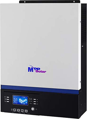 MPP SOLAR 5000w Pure Sine Wave Solar Inverter with mppt Solar Charger 80A Max PV 500V DC 48V AC Output 220V 230V 240V with 60A Utility Charger 50HZ or 60HZ Bluetooth Android Monitoring Remote LCD 20m