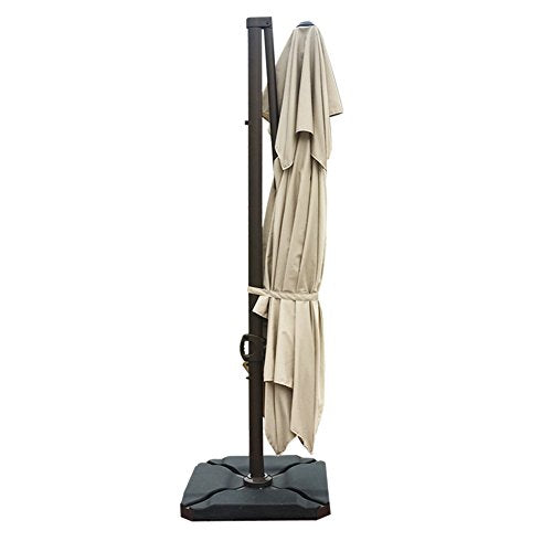 Abba Patio 9 by 12-Feet Square Offset Cantilever Umbrella Dual Wind Vent  Patio Hanging Umbrella with Cross Base, Beige