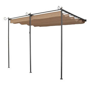 Bosmere Rowlinson St. Tropez Wall-Mounted Steel Sun Canopy with Retractable Fabric, Gunmetal Grey