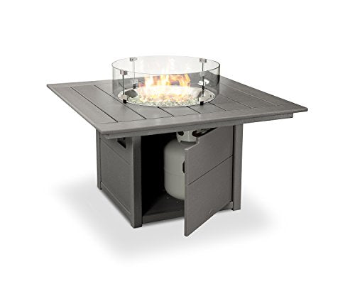 "POLYWOOD Square 42"" Fire Pit Table (Slate Grey)"