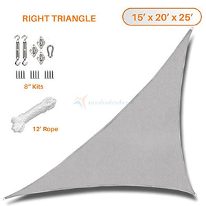 Sunshades Depot 15' x 20' x 25' Light Grey Sun Shade Sail with 8 Inch Hardware Kit - Right Triangle UV Block Durable Fabric Outdoor Canopy - Custom Size Available
