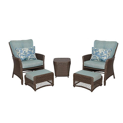 Hampton Bay Fallsview 5-Piece Wicker Conversation Set with Teal Olefin Cushions