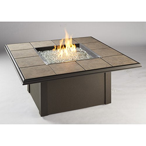 Outdoor Great Room Napa Valley Crystal Fire Pit Table with Brown Metal Base, Tan Porcelain Tiles and a Square Burner