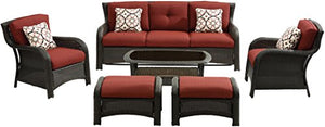Hanover STRATH6PC-S-RED Strathmere 6 Piece Lounge Set, Crimson Red