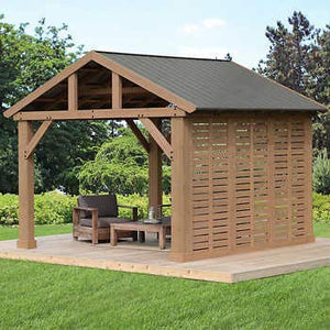 12' Pavilion Privacy Wall ONLY Compatible with Yardistry's 14 x 12 Wood Pavilion