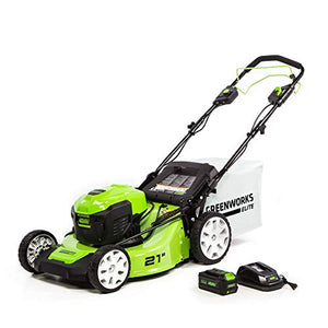 Greenworks 21-Inch 40V Brushless Self-Propelled Mower, 6AH Battery and Charger Included M-210-SP