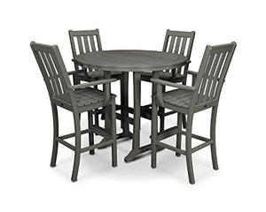 POLYWOOD Vineyard 5-Piece Bar Set (Slate Grey)