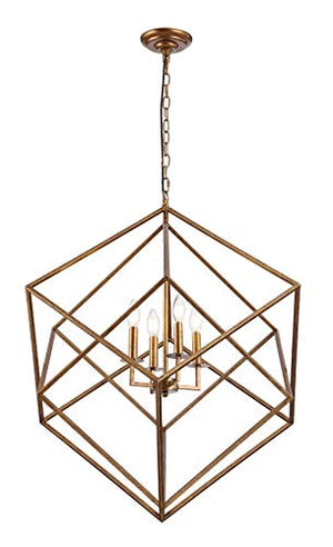 "26.5"" W x 29.5""H Cubist Large Chandelier 4 Light Multifaceted Frame Interlock Openwork Geometric Metal Pendant Lamp Dining Room Entry Living Room(Antique Gold)"