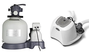 Intex Krystal Clear 3000 GPH Sand Filter Pump & 15000 Gal Saltwater Chlorinator