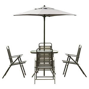 ModHaus Living Modern Folding Patio Garden Set with Gray Umbrella and Glass Tabletop - Includes Pen