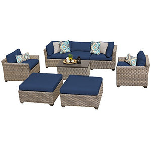 TK Classics MONTEREY-08a-NAVY Monterey 8 Piece Outdoor Wicker Patio Furniture Set, Navy