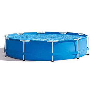 LZTET Round Prism Frame Swimming Paddling Pool Collapsible with Filter Pump Family Lawn Garden for Kids Adult Fun Gift - Removable 366 X 76 cm (12 Ft X 30 Inch -Blue)