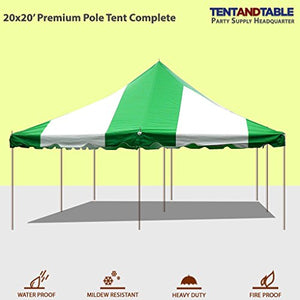 20-Foot by 20-Foot Green and White Pole Tent, Commercial Canopy Heavy Duty 16-Ounce Vinyl for Parties, Weddings, and Events