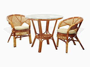 3 Pc Pelangi Rattan Wicker Dining Set Round Table Glass Top +2 Arm Chairs. Colonial Color