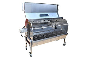 "59"" Stainless Steel Propane Gas/Charcoal Spit Rotisserie Roaster w/ XXL Hood"