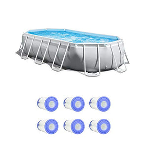 Intex 16.5 Foot Rectangular Pool Set w/Replacement Filter Cartridges (6 Pack)