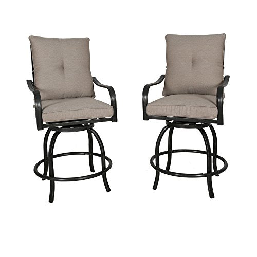 982b24e34f5 Ulax furniture Outdoor 2-Piece Counter Height Swivel Bar Stools High Patio  Dining Chair Set