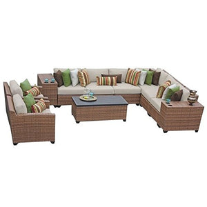 TK Classics 11 Piece Laguna Outdoor Wicker Patio Furniture Set, Beige 11d