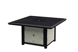 Ashley Furniture Signature Design - Town Court Outdoor Square Fire Pit Table - Slatted Table Top - Weather-Resistant Aluminum - Stainless Steel Burner with Glass Beads - Brown
