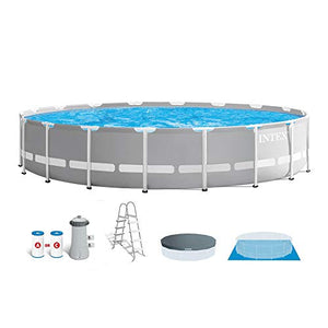 Intex 18 Foot x 48 Inch Prism Frame Above Ground Swimming Pool Set with Pump