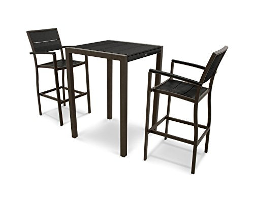 Trex Outdoor Furniture Surf City 3-Piece Bar Set in Textured Bronze / Charcoal Black