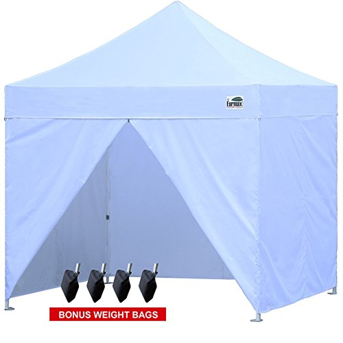 Eurmax 10x10 Ez Pop-up Canopy Tent Commercial Instant Tent with 4 Removable  Zipper End Sidwalls and Carry Bag, Bonus 4 SandBags (White)