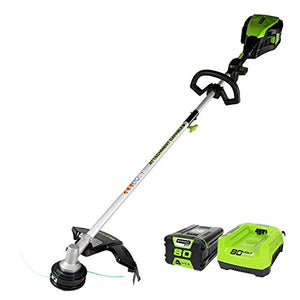 HONG KONG SUNRISE TRAD Greenworks GST80321Pro 80V 16-inch Cordless String Trimmer (Attachment Capable), Green, 2Ah Battery Included