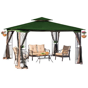 MRT SUPPLY 10 x 12 Regency II Patio Gazebo with Mosquito Netting, Hunter Green with Ebook