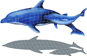 "Artistry in Mosaics Dolphin Pair Ceramic Swimming Pool Mosaic (37"" x 57"" with Shadow)"