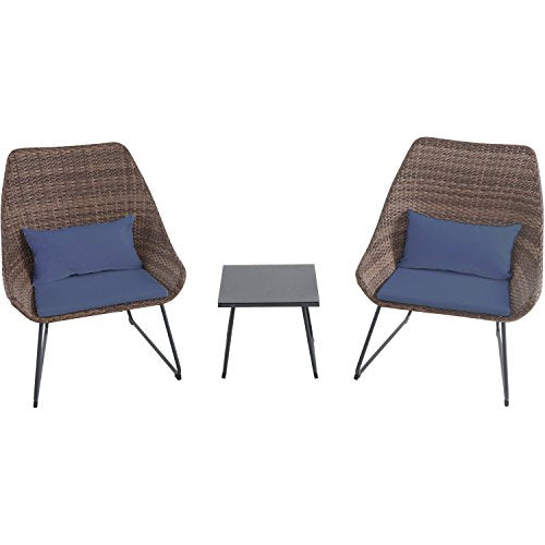 Hanover 3-Piece Wicker Chat Set with Navy Blue Cushions