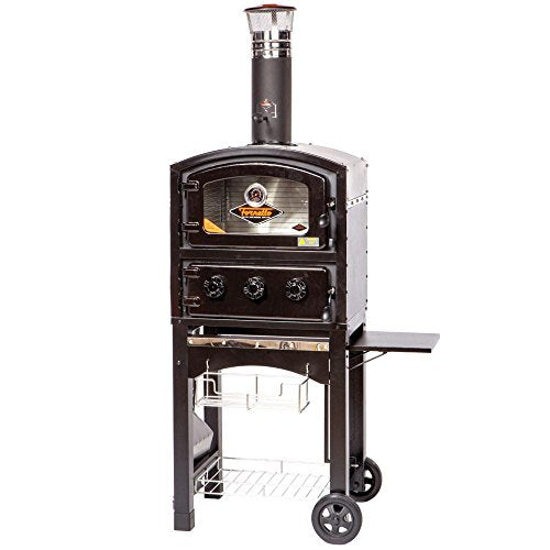 Wood and Charcoal Fired Oven and Smoker in Black