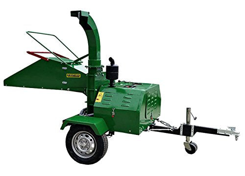Western Pacific Diesel Wood Chipper Diesel 22 HP Wood Chipper Cutter Leaf Mulcher Shredder 6 Inch Capacity, Adjustable Deflector Vane Discharge Chute, 1 Year Warranty