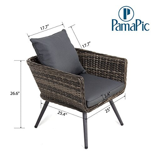 Incredible Pamapic 4 Piece Outdoor Patio Wicker Furniture Sets With Cushions Unique Design With Round Rattan Pe Rattan Outdoor Sectional Sofa And Table With Home Interior And Landscaping Ologienasavecom