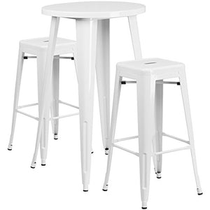 Bowery Hill Round Patio Bistro Set in White
