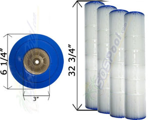 4 Pack 25 sq. ft. Cartridge Filter Pentair Quad D.E. 100 178656 C-6900 FC-1963