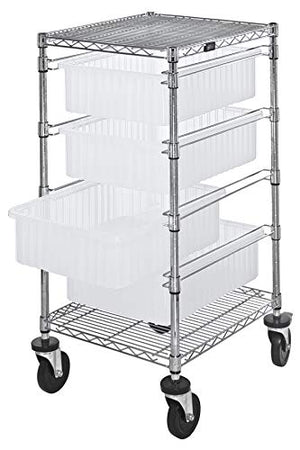 "Quantum Storage Solutions - Bin Cart - - - - 24""W x 21""L x 45""H 4 Clear Bins 4 Levels - - 1 - Stainless Steel Finish - Part Number:BC212434M1CL"